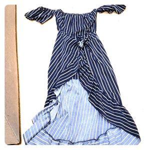 Vici Navy ruffle tie dress